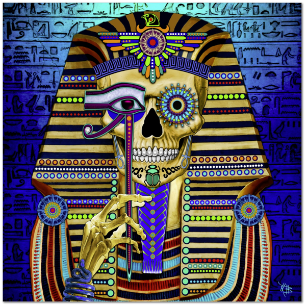Egyptian Skull Day of the Dead Art Canvas Print - Funky Bone Pharaoh - Premium Canvas Gallery Wrap - Fusion Idol Arts - New Mexico Artist Christopher Beikmann