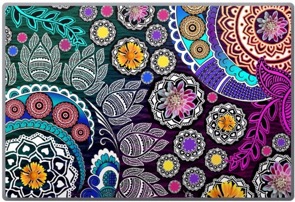 Mehndi Garden - Indian Paisley Floral Laptop Vinyl Skin Decal - Laptop Skin Decal - 1
