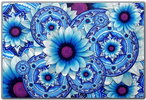 Blue Floral Laptop Vinyl Skin Decal - Talavera Alejandra - Laptop Skin Decal - 1