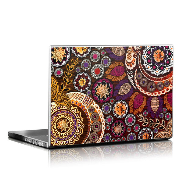 Autumn Mehndi - Fall Color Paisley Floral Laptop Vinyl Skin Decal - Laptop Skin Decal - 1