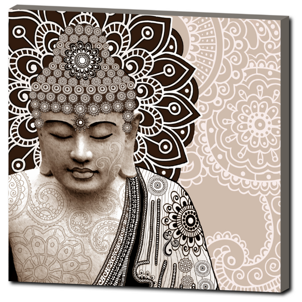 Tan Paisley Buddha - Square Canvas Art Print for Zen Decor - Meditation Mehndi - Premium Canvas Gallery Wrap - Fusion Idol Arts - New Mexico Artist Christopher Beikmann