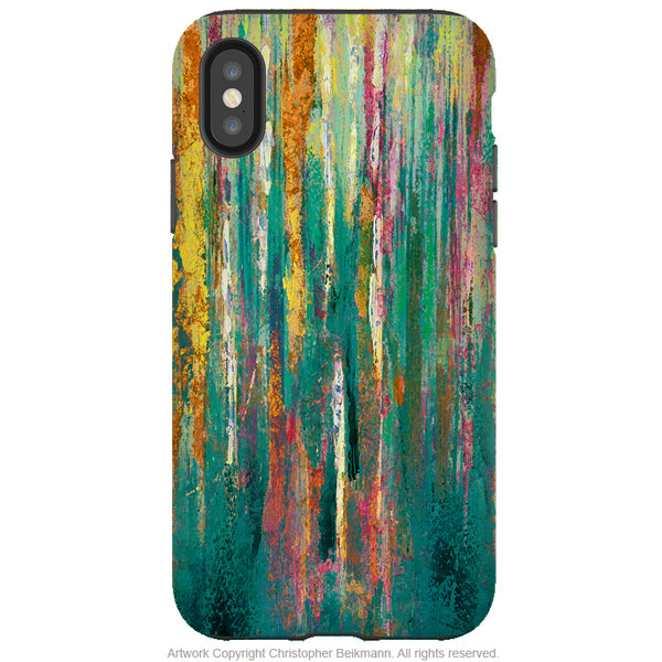 Green Abstractus - iPhone X / XS / XS Max / XR Tough Case - Dual Layer Protection for Apple iPhone 10 - Teal and Orange Abstract Art Case
