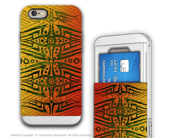 Orange Tribal Abstract iPhone 6 6s Cardholder Case - Alien Encounter - Credit Card Holder Case - Wallet Case for iPhone 6s