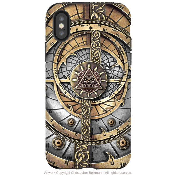 All Seeing Compass - iPhone X / XS / XS Max / XR Tough Case - Dual Layer Protection for Apple iPhone 10 - Steampunk Astrolabe Case