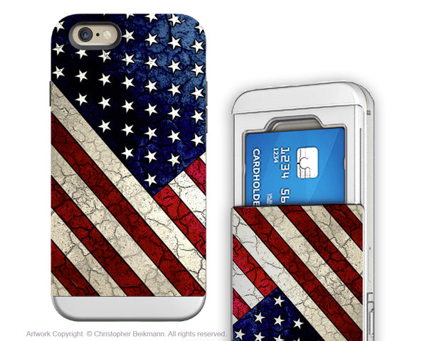 American Flag iPhone 6 6s Cardholder Case - Stars & Stripes - USA Credit Card Holder Wallet Case for iPhone 6s - iPhone 6 6s Cardholder Case - 1