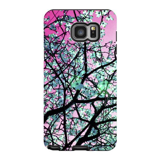 Pink Tree Blossom Galaxy NOTE 5 Case - Artistic Floral Samsung Galaxy NOTE 5 Tough Case - Aqua Blooms - Galaxy NOTE 5 TOUGH Case - 1