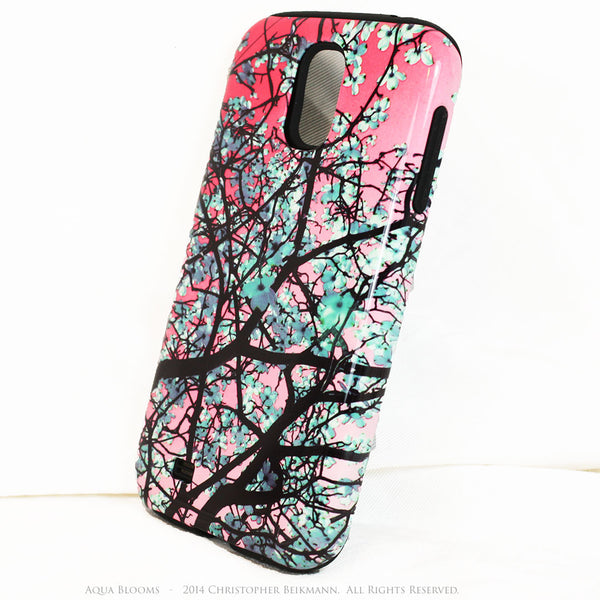 Galaxy S4 cases - Premium Tough Case - Aqua Blooms and Blue Mehndi - Galaxy S4 TOUGH Case - 2