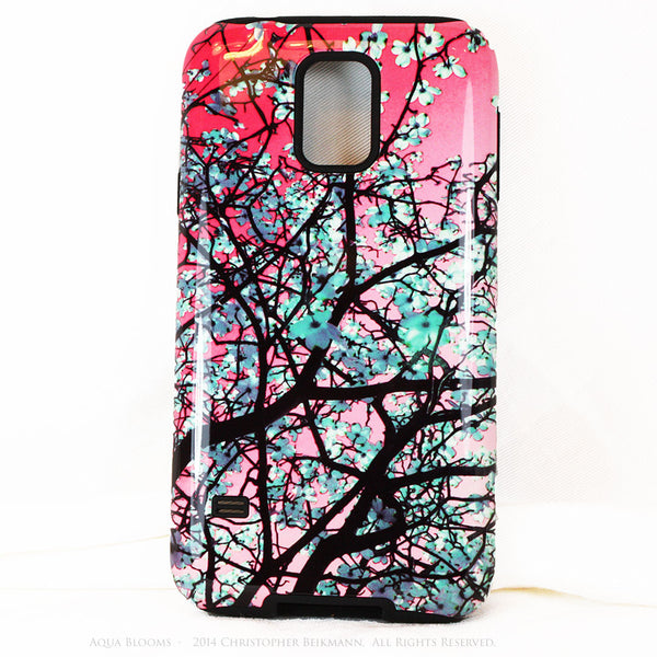 Aqua Blooms Floral Galaxy S5 case - Premium Tough Case - Pink & Turquoise Tree Blossoms - Galaxy S5 TOUGH Case - 1