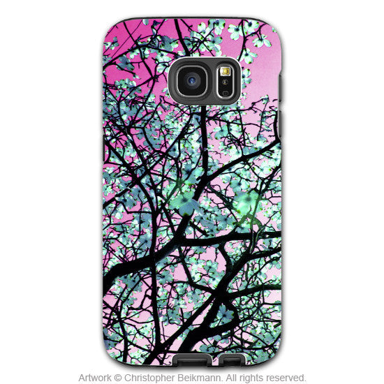 Pink Tree Blossoms - Artistic Galaxy S6 EDGE TOUGH Case - Dual Layer Protection - Aqua Blooms - Galaxy S6 Edge Tough Case - 1
