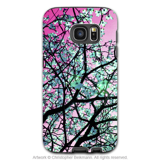 Pink Tree Blossom Galaxy S7 Case - Artistic Floral Samsung Galaxy S7 Tough Case - Aqua Blooms - Galaxy S7 TOUGH Case - 1
