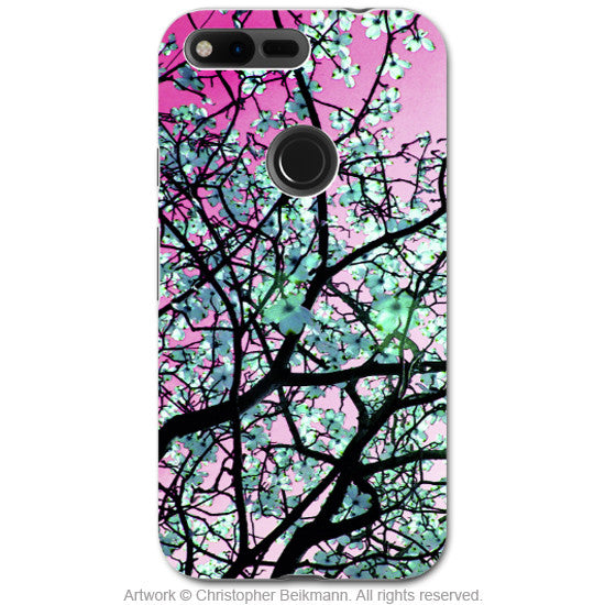 Pink and Green Tree Blossom - Artistic Google Pixel Tough Case - Dual Layer Protection - Aqua Blooms