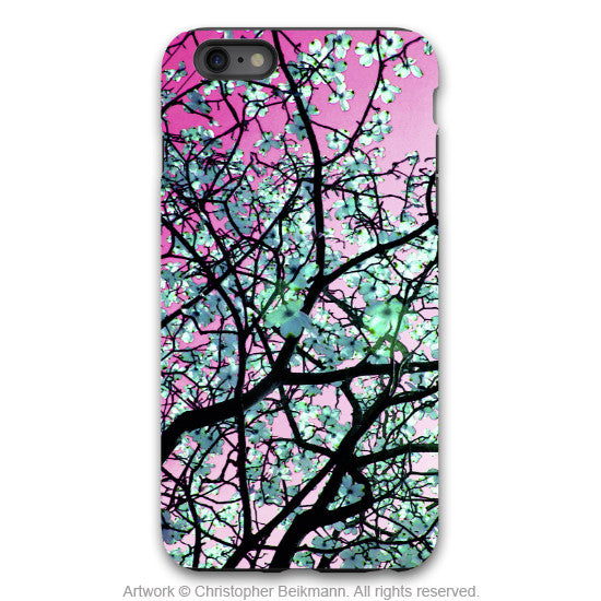 Tree Blossom iPhone 6 6s Plus TOUGH Case - Aqua Blooms -  Artistic Floral Case for iPhone 6 6s Plus - iPhone 6 6s Plus Tough Case - 1
