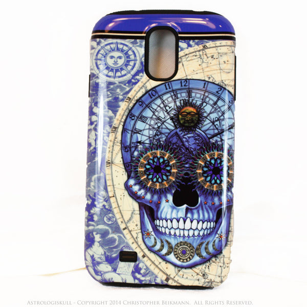 "Blue Astrological Skull Galaxy S4 case - ""Astrologiskull"" - Steampunk Skull TOUGH style protective case - Galaxy S4 TOUGH Case - 1"