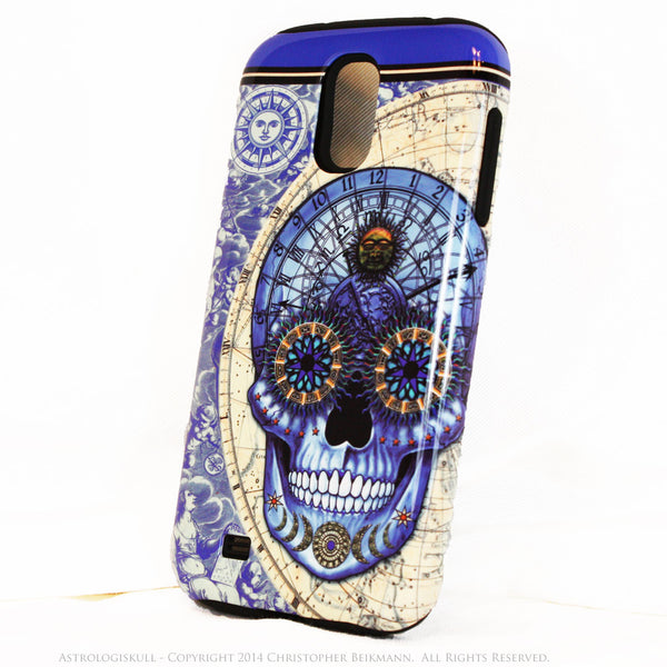 "Blue Astrological Skull Galaxy S4 case - ""Astrologiskull"" - Steampunk Skull TOUGH style protective case - Galaxy S4 TOUGH Case - 2"
