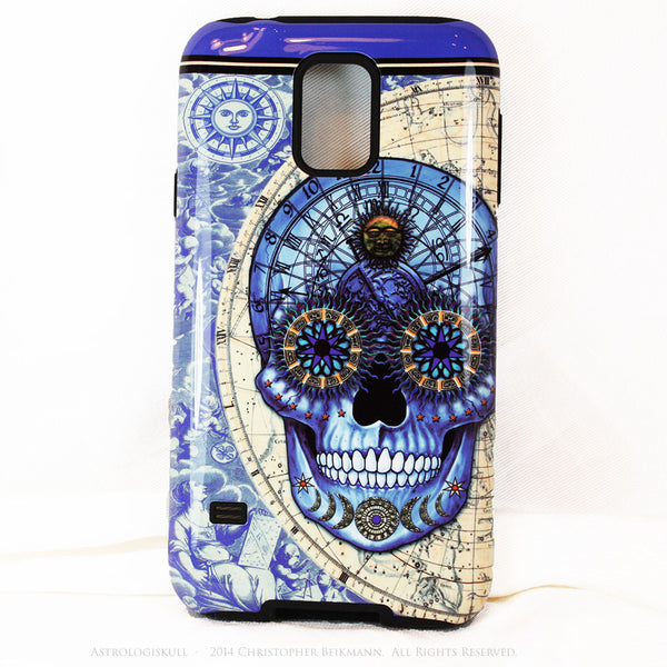 "Blue Astrological Skull Galaxy S5 case - ""Astrologiskull"" - Steampunk Skull TOUGH style protective case - Galaxy S5 TOUGH Case - 1"