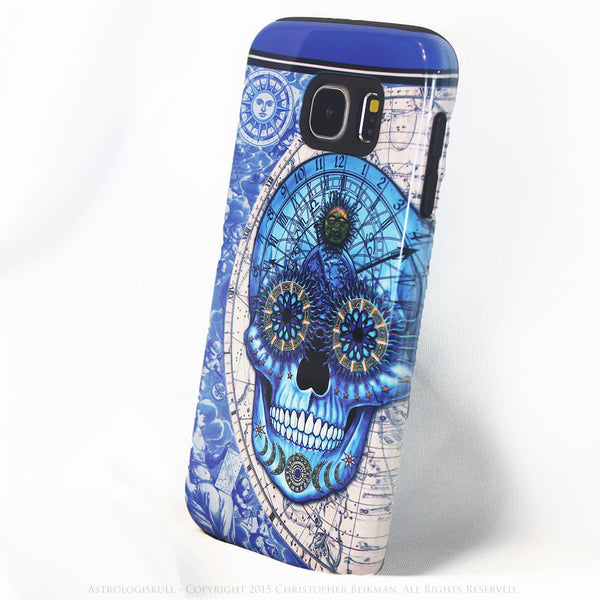Astrological Skull Galaxy S6 Case - Astrologiskull - Blue and Tan Sugar Skull S6 Tough Case - Galaxy S6 TOUGH Case - 2