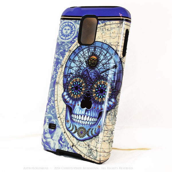 "Blue Astrological Skull Galaxy S5 case - ""Astrologiskull"" - Steampunk Skull TOUGH style protective case - Galaxy S5 TOUGH Case - 2"