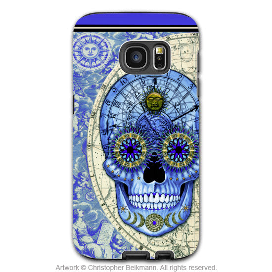 Astrological Skull Galaxy S7 Case - Astrologiskull - Blue and Tan Sugar Skull S7 Tough Case - Galaxy S7 TOUGH Case - 1