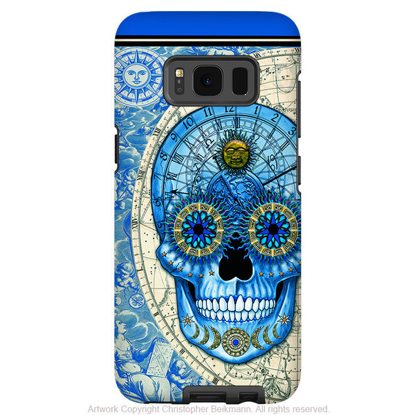 Astrological Skull Galaxy S8 Case - Astrologiskull - Blue and Tan Sugar Skull S8 Tough Case - Fusion Idol Arts