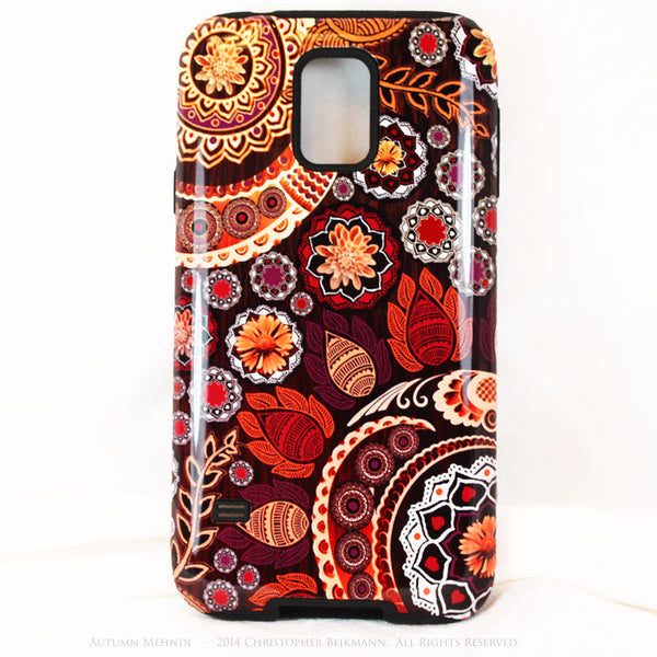 Artistic Paisley Floral Galaxy S5 case - TOUGH style protective case - Autumn Mehndi - Fall Color Floral - Galaxy S5 TOUGH Case - 1