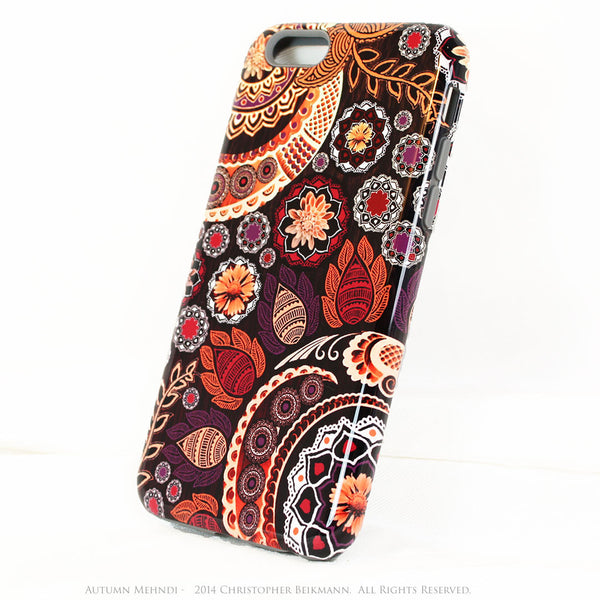 Fall Paisley iPhone 6 6s Plus TOUGH Case - Autumn Mehndi - Orange, Purple and Brown Paisley Floral - Artistic iPhone 6 6s Plus case - iPhone 6 6s Plus Tough Case - 2