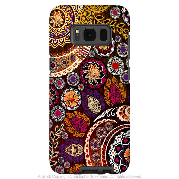 Autumn Paisley Mehndi - Artistic Samsung Galaxy S8 Tough Case - Dual Layer Protection - autumn Mehndi - Fusion Idol Arts