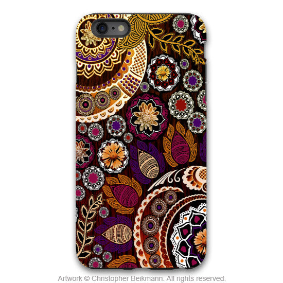 Fall Paisley iPhone 6 6s Plus TOUGH Case - Autumn Mehndi - Orange, Purple and Brown Paisley Floral - Artistic iPhone 6 6s Plus case - iPhone 6 6s Plus Tough Case - 1