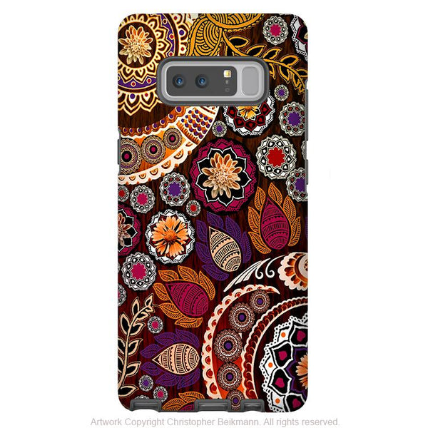 Autumn Mehndi Galaxy Note 8 Tough Case - Dual Layer Protection - Fall Paisley Case for Samsung Galaxy Note 8