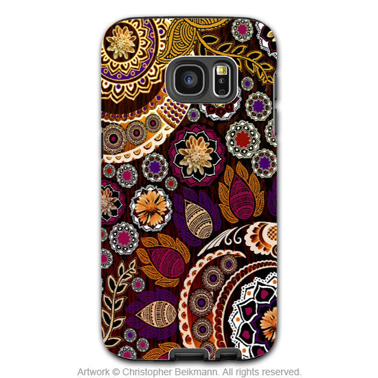 Fall Paisley Galaxy S7 EDGE Case - Autumn Mehndi - Floral Boho Paisley Samsung Galaxy S7 EDGE Tough Case - Galaxy S7 EDGE TOUGH Case - 1