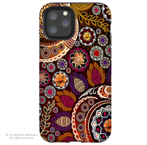 Autumn Mehndi - iPhone 11 / 11 Pro / 11 Pro Max Tough Case - Dual Layer Protection for Apple iPhone Paisley Floral Art Case