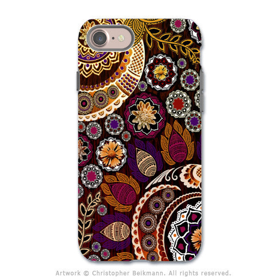 Autumn Paisley Mehndi - Artistic iPhone 7 Tough Case - Dual Layer Protection - Autumn Mehndi - iPhone 7 Tough Case - 1