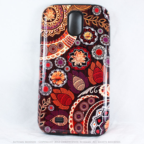 Artistic Paisley Floral Galaxy S4 case - TOUGH style protective case - Autumn Mehndi - Fall Color Floral - Galaxy S4 TOUGH Case - 1