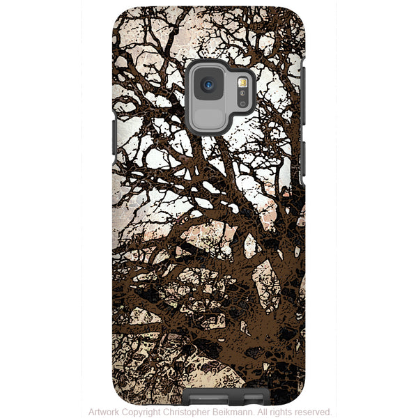 Autumn Moonlit Night - Galaxy S9 / S9 Plus / Note 9 Tough Case - Dual Layer Protection for Samsung S9 - Brown Tree Art Case