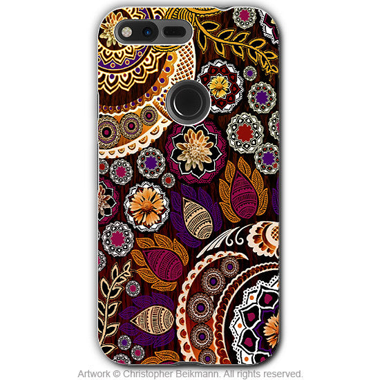 Autumn Paisley Mehndi - Artistic Google Pixel Tough Case - Dual Layer Protection - autumn mehndi