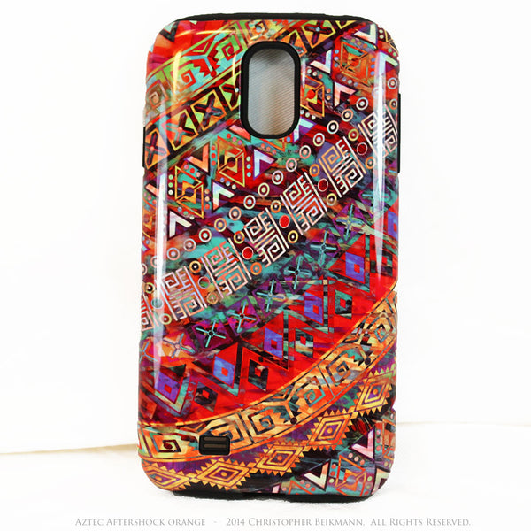 "Orange Tribal Galaxy S4 TOUGH Case - Tribal Abstract Art - ""Aztec Aftershock Orange"" - Dual Layer Case by Da Vinci Case - Galaxy S4 TOUGH Case - 1"