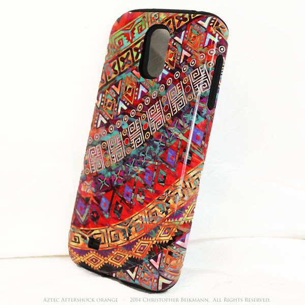 "Orange Tribal Galaxy S4 TOUGH Case - Tribal Abstract Art - ""Aztec Aftershock Orange"" - Dual Layer Case by Da Vinci Case - Galaxy S4 TOUGH Case - 2"