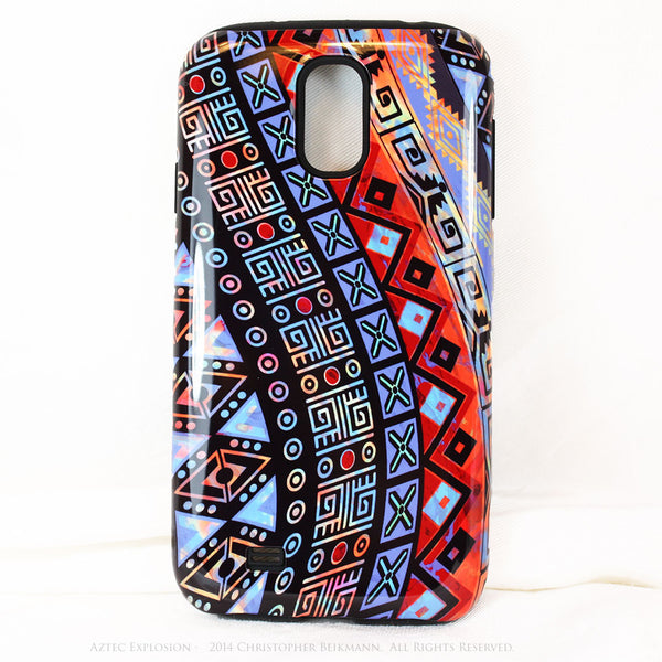 Abstract Aztec Tribal Art Galaxy S4 case - Aztec Explosion - Artistic S4 Tough Case - Galaxy S4 TOUGH Case - 1