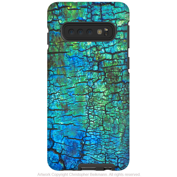 Azul Crust - Galaxy S10 / S10 Plus / S10E Tough Case - Dual Layer Protection - Blue and Green Cracked Abstract