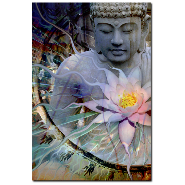 Buddha with Lotus - Canvas Print - Zen Meditation Art - Living Radiance - Premium Canvas Gallery Wrap - Fusion Idol Arts - New Mexico Artist Christopher Beikmann