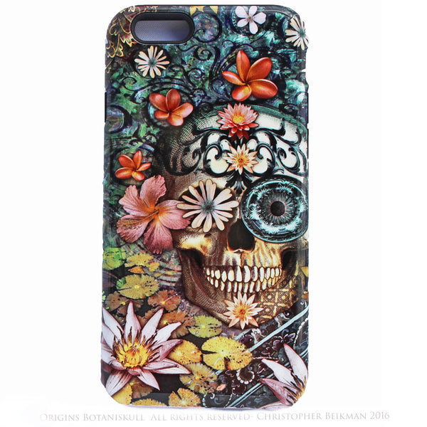 iPhone 6 6s Plus Floral Skull Case - Bali Botaniskull - Day of the Dead - Artistic Tough Case for iPhone 6 6s Plus - iPhone 6 6s Plus Tough Case - 1