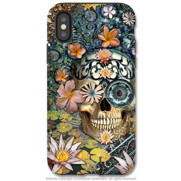 Bali Botaniskull - iPhone X / XS / XS Max / XR Tough Case - Dual Layer Protection for Apple iPhone 10 - Botanical Sugar Skull Art Case - iPhone X Tough Case - Fusion Idol Arts - New Mexico Artist Christopher Beikmann