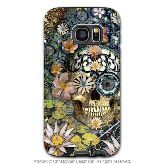 Floral Sugar Skull - Artistic Galaxy S6 EDGE TOUGH Case - Dual Layer Protection - Bali Botaniskull - Galaxy S6 Edge Tough Case - 1