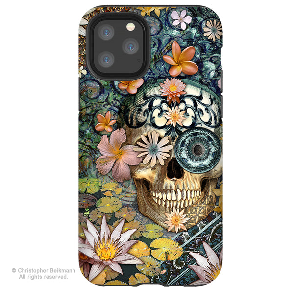 Bali Botaniskull - iPhone  Tough Case - 12 / 12 Pro / 12 Pro Max / 12 Mini Tough Case Dual Layer Protection for Apple iPhone XI - Floral Sugar Skull Case
