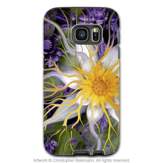 Lotus Galaxy S7 EDGE Case - Artistic Green and Purple Lotus Blossom Samsung Galaxy S7 EDGE Tough Case - Bali Dream Flower - Galaxy S7 EDGE TOUGH Case - 1