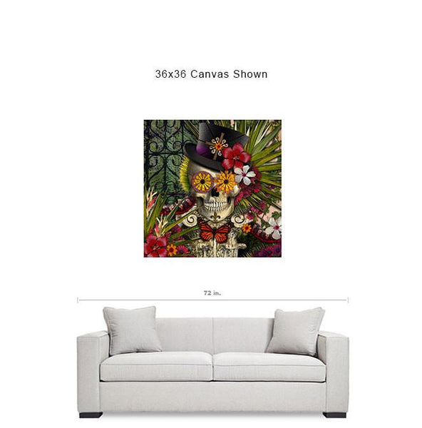 New Orleans Voodoo Sugar Skull Art Canvas Print - Baron in Bloom - Premium Canvas Gallery Wrap - Fusion Idol Arts - New Mexico Artist Christopher Beikmann