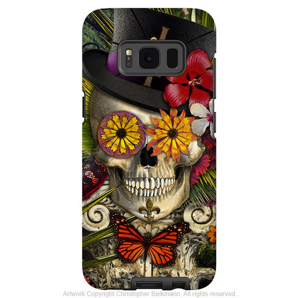 Baron Samedi Voodoo Galaxy S8 Case - Baron in Bloom Botaniskull - New Orleans Skull Samsung Galaxy S8 Tough Case - Fusion Idol Arts