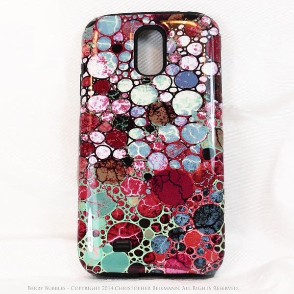 Berry Bubbles Galaxy S4 case - TOUGH Case - Burgundy and Green Abstract Art S4 Case - Galaxy S4 TOUGH Case - 1