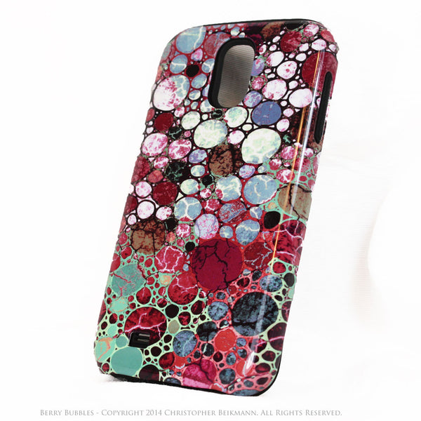 Berry Bubbles Galaxy S4 case - TOUGH Case - Burgundy and Green Abstract Art S4 Case - Galaxy S4 TOUGH Case - 2