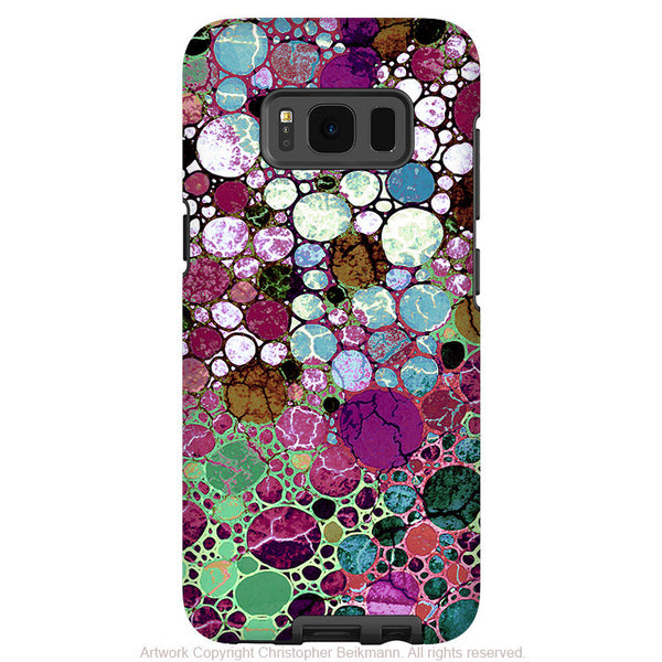 Burgundy Bubble Abstract - Artistic Samsung Galaxy S8 Tough Case - Dual Layer Protection - berry bubbles - Fusion Idol Arts