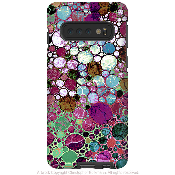 Berry Bubbles - Galaxy S10 / S10 Plus / S10E Tough Case - Dual Layer Protection - Burgundy and Green Abstract